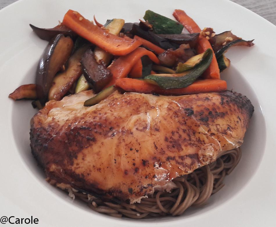Ingrédients pour 4 personnes : 1 poulet fermier 2 carottes 2 courgettes 1 aubergine Des nouilles soba pour 4 personnes 20cl de sauce soja 5cl de mirin 1càs d'huile de sésame 1càs bombée de...