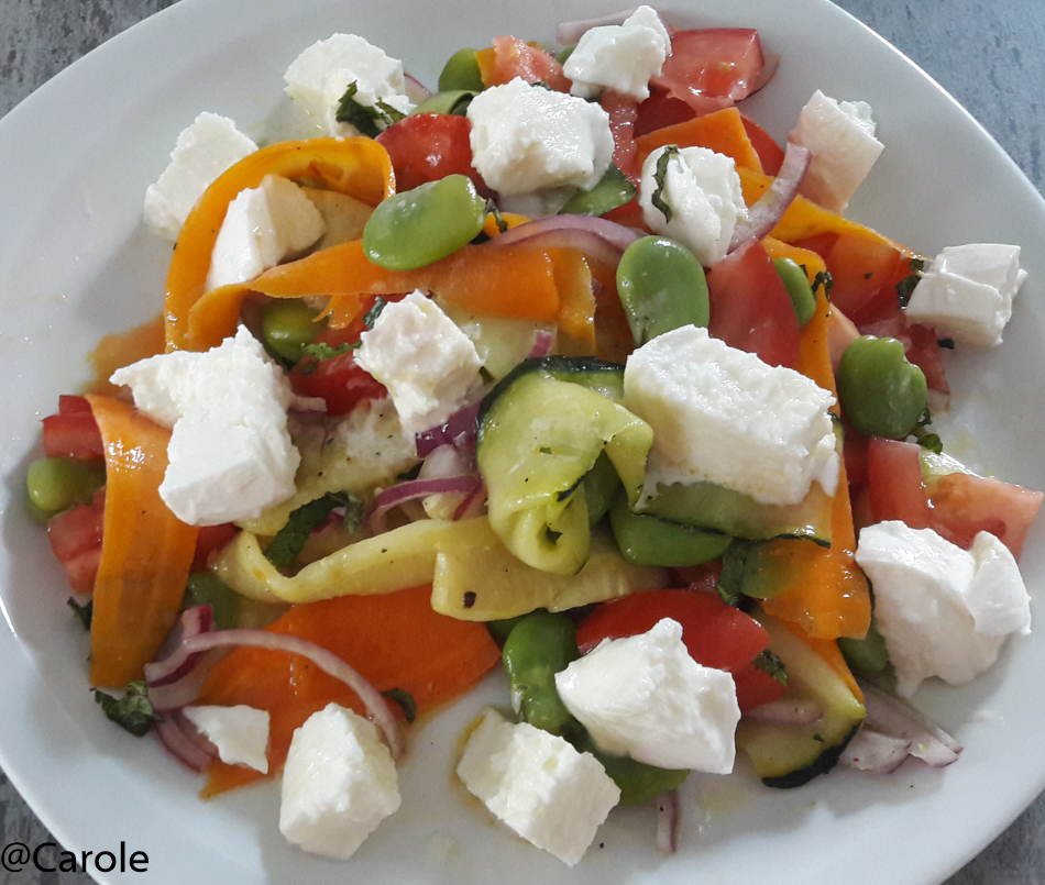Ingrédients pour 4 personnes : une soixantaine de fèves 4 carottes 2 courgettes 2 boules de mozzarella 1 oignon rouge 4 tomates 1/2 bouquet de menthe huile de noix, sel, poivre, citron, vinaigre de...