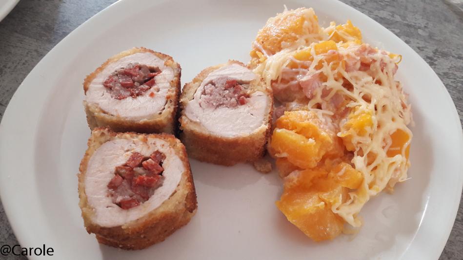 Ingrédients pour 4 personnes : 1 butternut 100g de farce de porc 2 grands filets de dinde ouverts en escalope 10 tranches de chorizo coupées en dés 2 fines tranches de lard gruyère râpé 10cl de...